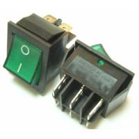 Выключатель-клавиша 4к.зеленый(16А/250V)